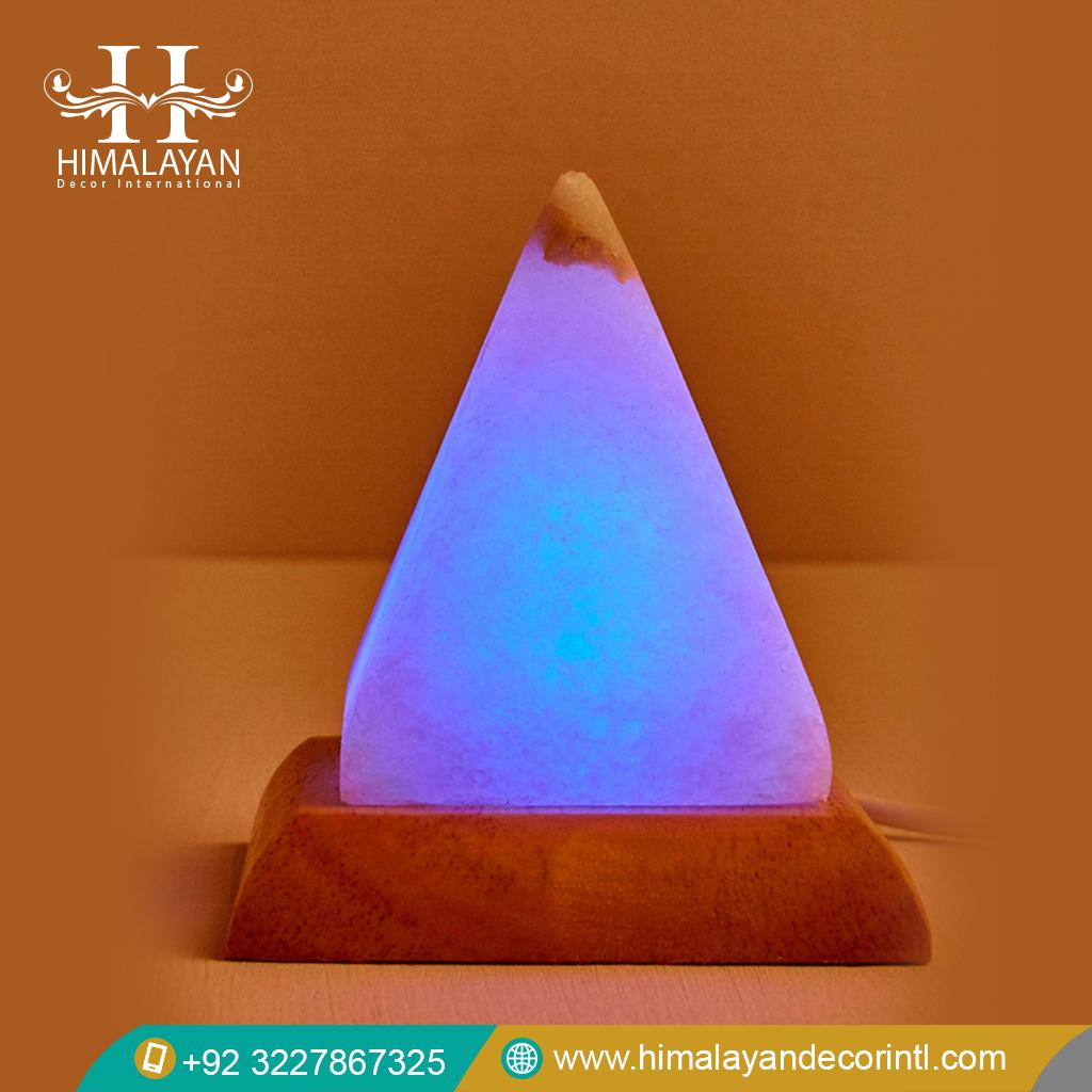 Himalayan White Salt Pyramide Shape USB Multicolor LED Bulb Lamp - Himalayan Decor International
